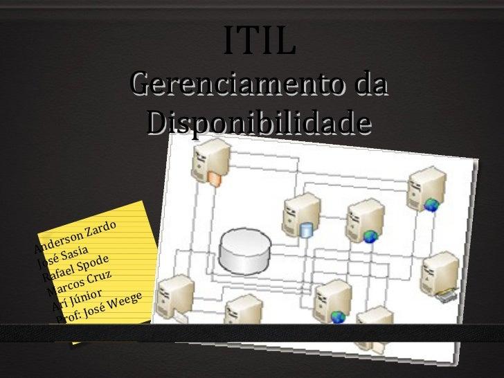 Gerenciamento da Disponibilidade ITIL Anderson Zardo José Sasia Rafael Spode Marcos Cruz Arí Júnior Prof: José Weege