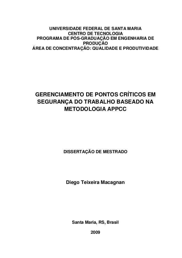 UNIVERSIDADE FEDERAL DE SANTA MARIA             CENTRO DE TECNOLOGIA PROGRAMA DE PÓS-GRADUAÇÃO EM ENGENHARIA DE           ...