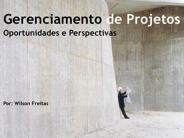 Gerenciamento de Projetos Oportunidades e Perspectivas     Por: Wilson Freitas