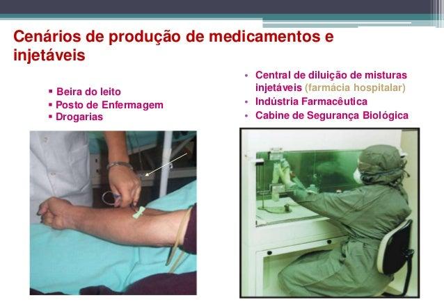 Cenários de produção de medicamentos einjetáveis                            • Central de diluição de misturas     Beira d...