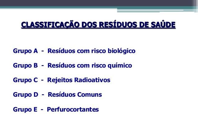 Grupo A – Resíduos BiológicosCONCEITOSResíduos que apresentam risco à saúde pública e ao meio ambientedevido à presença de...