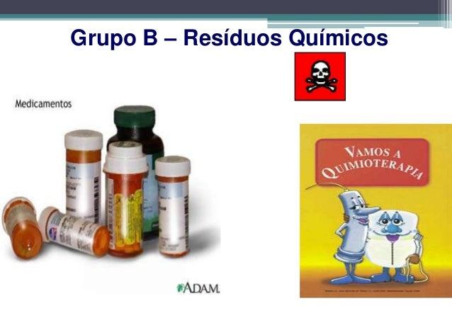 GRUPO B                      CLASSIFICAÇÃO B2Os resíduos dos medicamentos ou dos insumos farmacêuticos quandovencidos, con...