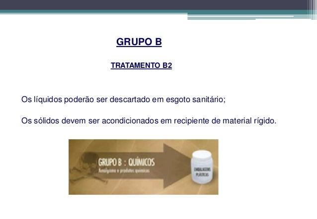 GRUPO B                     CLASSIFICAÇÃO B3Os resíduos e insumos farmacêuticos dos medicamentos controlados pelaportaria ...