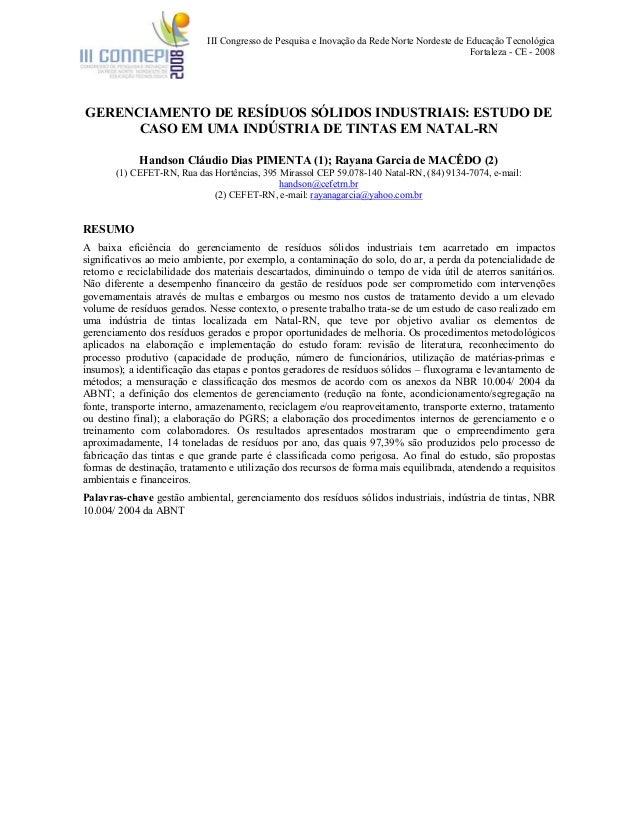 III Congresso de Pesquisa e Inovação da Rede Norte Nordeste de Educação Tecnológica Fortaleza - CE - 2008 GERENCIAMENTO DE...