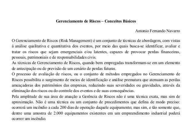 Gerenciamento de Riscos – Conceitos Básicos Antonio Fernando Navarro O Gerenciamento de Riscos (Risk Management) é um conj...