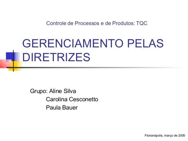 Controle de Processos e de Produtos: TQCGERENCIAMENTO PELASDIRETRIZES Grupo: Aline Silva      Carolina Cesconetto      Pau...