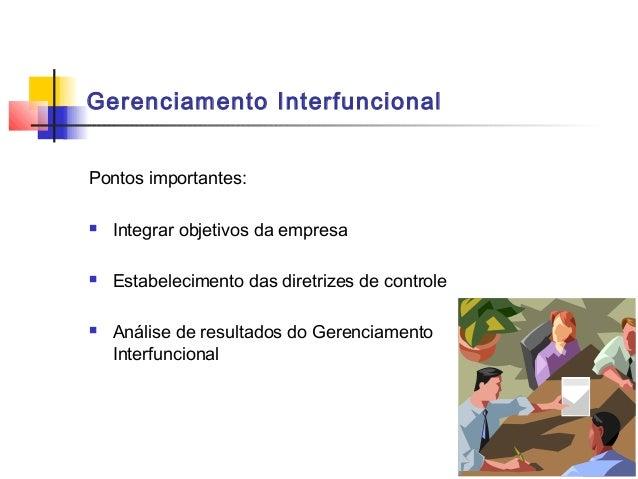 Gerenciamento InterfuncionalPontos importantes:   Integrar objetivos da empresa   Estabelecimento das diretrizes de cont...