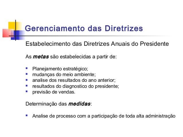 Gerenciamento das DiretrizesEstabelecimento das Diretrizes Anuais do PresidenteAs metas são estabelecidas a partir de:   ...