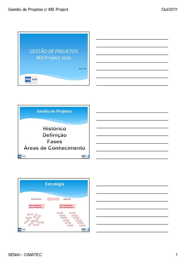 Gestão de Projetos c/ MS Project Out/2011 SENAI - CIMATEC 1 GESTÃO DE PROJETOS MS Project 2010 Out / 2011 Gestão de Projet...