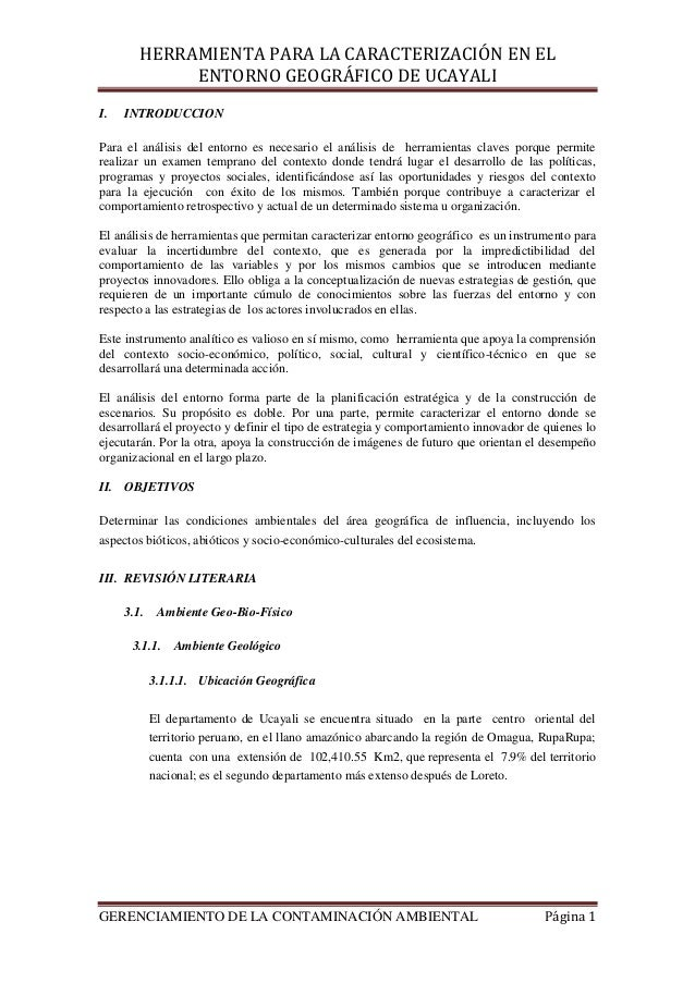 HERRAMIENTA PARA LA CARACTERIZACIÓN EN EL ENTORNO GEOGRÁFICO DE UCAYALI GERENCIAMIENTO DE LA CONTAMINACIÓN AMBIENTAL Págin...