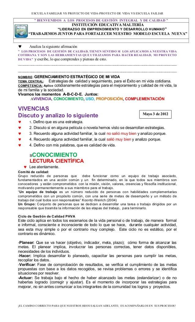 """ESCUELA FAMILIAR VS PROYECTO DE VIDA-PROYECTO DE VIDA VS ESCUELA FAILIAR """" BIENVENIDOS A LOS PROCESOS DE GESTIÓN INTEGRAL ..."""