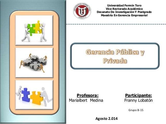 Universidad Fermín Toro Vice Rectorado Académico Decanato De Investigación Y Postgrado Maestría En Gerencia Empresarial Pa...