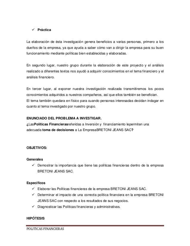 Politicas Financieras De La Empresa Bretoni Jeans S A C