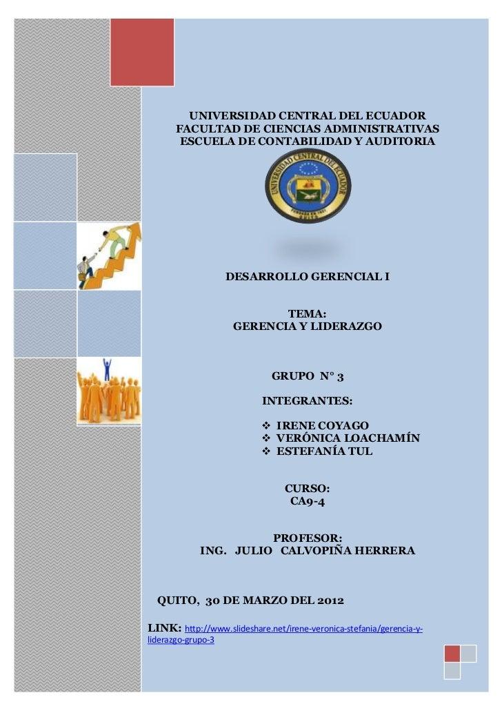 UNIVERSIDAD CENTRAL DEL ECUADOR       FACULTAD DE CIENCIAS ADMINISTRATIVAS        ESCUELA DE CONTABILIDAD Y AUDITORIA     ...