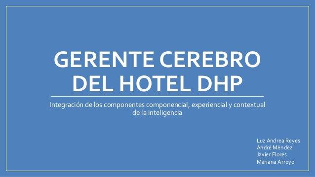 GERENTE CEREBRO DEL HOTEL DHP Integración de los componentes componencial, experiencial y contextual de la inteligencia Lu...