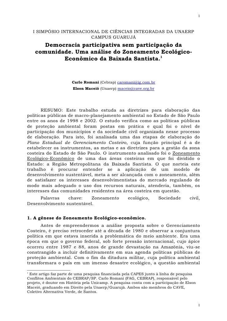 1        I SIMPÓSIO INTERNACIONAL DE CIÊNCIAS INTEGRADAS DA UNAERP                          CAMPUS GUARUJÁ        Democrac...
