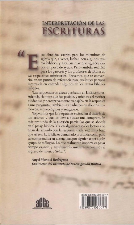 INTERPRETACIÓN DE LAS  ESCRITURAS  ste libro fue escrito para los miembros de  iglesia que, a veces, luchan con algunos te...