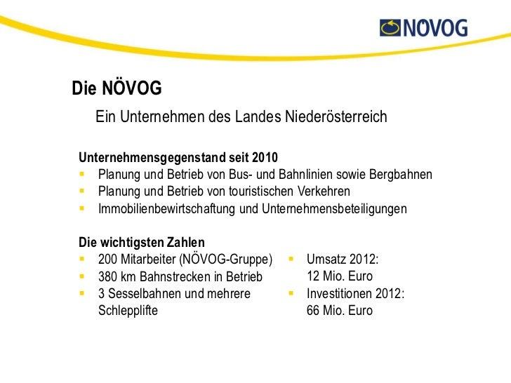 Die NÖVOG  Ein Unternehmen des Landes NiederösterreichUnternehmensgegenstand seit 2010 Planung und Betrieb von Bus- und B...