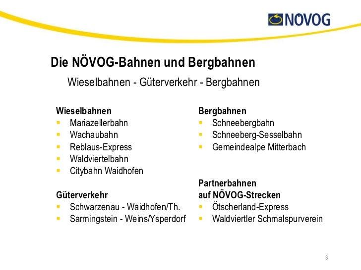 Die NÖVOG-Bahnen und Bergbahnen  Wieselbahnen - Güterverkehr - BergbahnenWieselbahnen                       Bergbahnen Ma...
