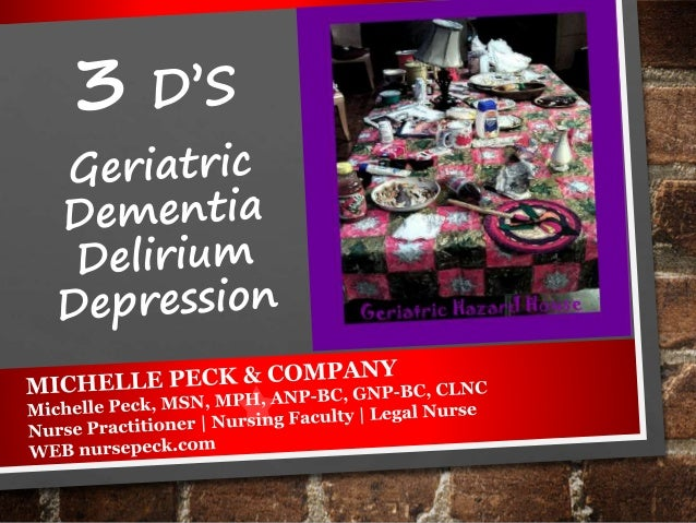 LET'S DISCUSS HOW TO Differentiate delirium, depression & dementia. Describe the etiology and signs and symptoms of deliri...