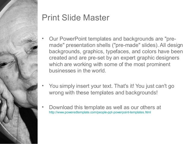 Geriatric woman powerpoint template by poweredtemplate 3 print slide master our powerpoint templates toneelgroepblik Gallery