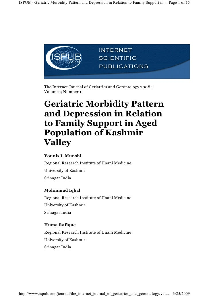 ISPUB - Geriatric Morbidity Pattern and Depression in Relation to Family Support in ... Page 1 of 15                   The...