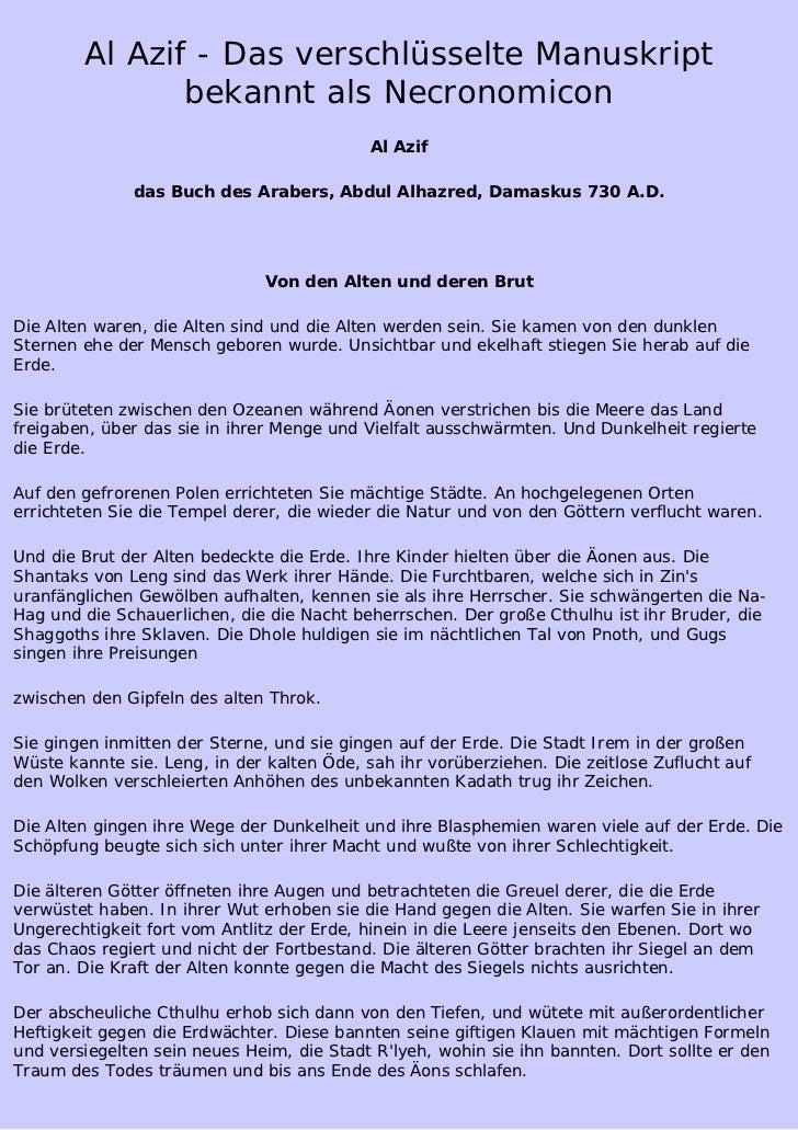Al Azif - Das verschlüsselte Manuskript               bekannt als Necronomicon                                            ...
