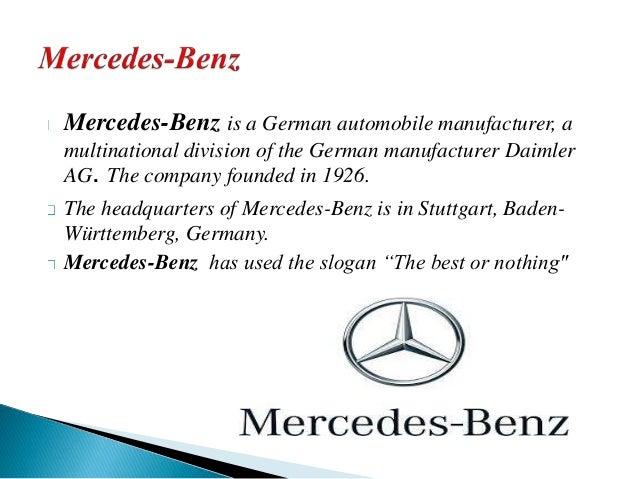 German brands for Mercedes benz tagline