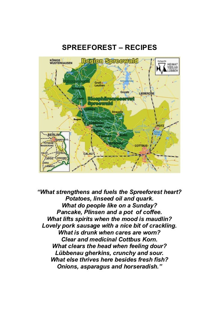 """SPREEFOREST – RECIPES""""What strengthens and fuels the Spreeforest heart?          Potatoes, linseed oil and quark.        W..."""