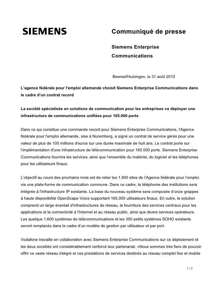 Communiqué de presse                                                       Siemens Enterprise                             ...