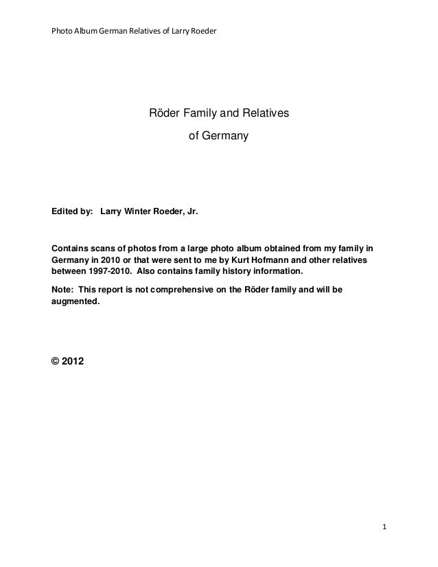 Photo Album German Relatives of Larry Roeder                         Röder Family and Relatives                           ...