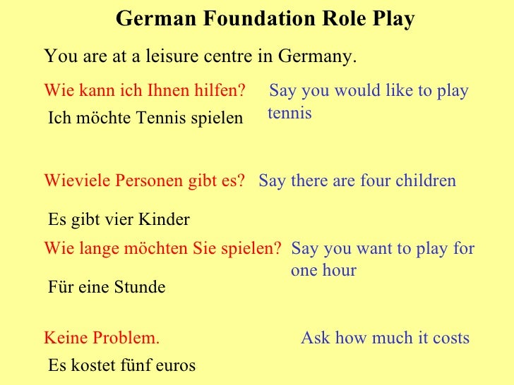 German Foundation Role Play You are at a leisure centre in Germany. Wie kann ich Ihnen hilfen?  Say you would like to play...