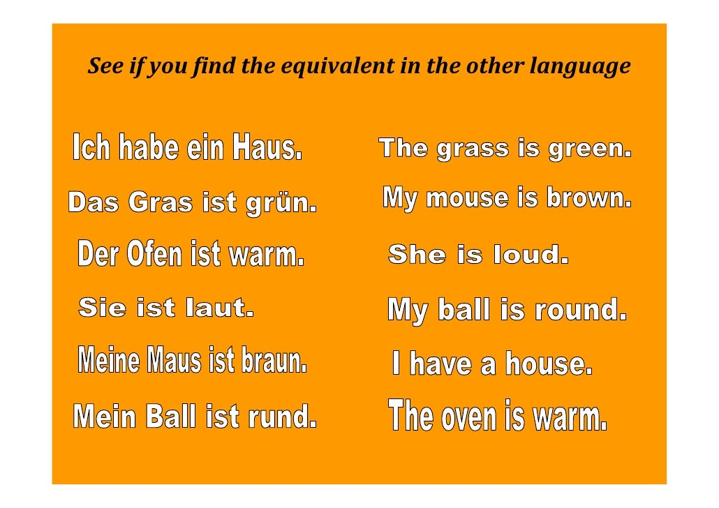 A1/1 An Introductory Lesson to German (for speakers of English)