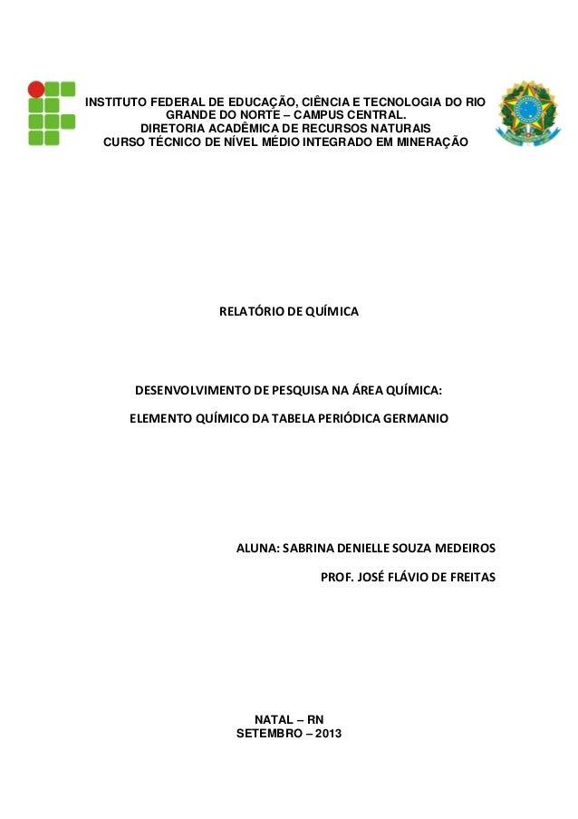 INSTITUTO FEDERAL DE EDUCAÇÃO, CIÊNCIA E TECNOLOGIA DO RIO GRANDE DO NORTE – CAMPUS CENTRAL. DIRETORIA ACADÊMICA DE RECURS...