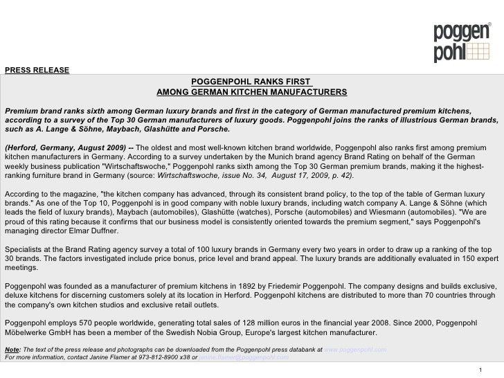 Bon PRESS RELEASE POGGENPOHL RANKS FIRST AMONG GERMAN KITCHEN MANUFACTURERS  Premium Brand Ranks Sixth Among German Luxury ...