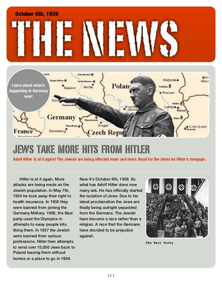 THE NEWS   October 6th, 1939 Learn about what'shappening in Germany        now!  JEWS TAKE MORE HITS FROM HITLER  Adolf Hi...