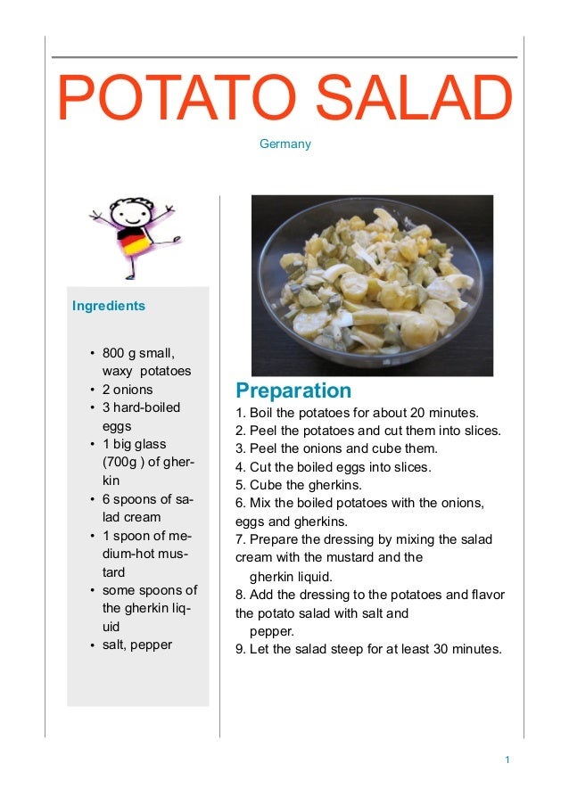 Preparation 1. Boil the potatoes for about 20 minutes. 2. Peel the potatoes and cut them into slices. 3. Peel the onions a...