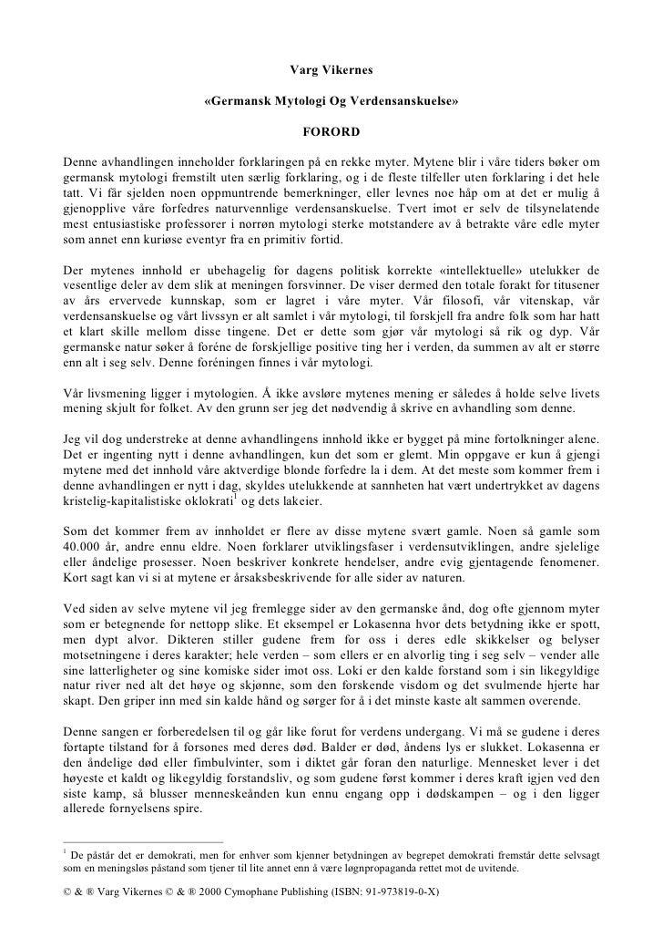 Varg Vikernes                                «Germansk Mytologi Og Verdensanskuelse»                                      ...