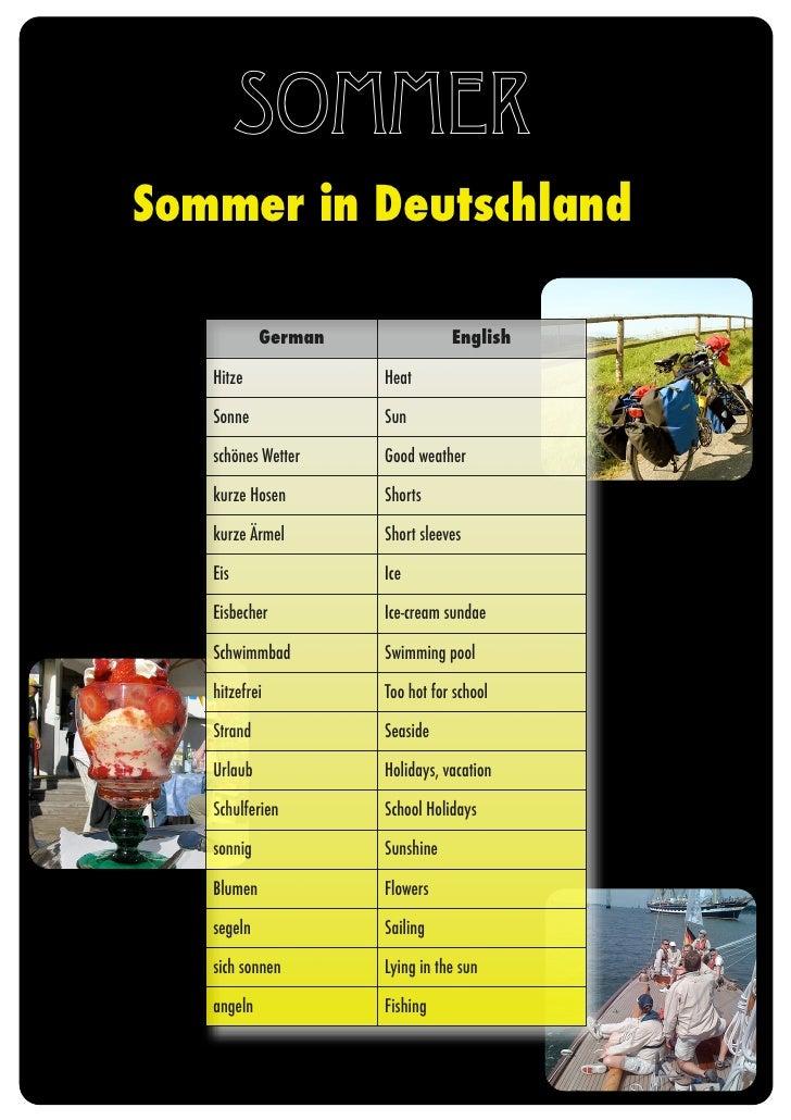 Sommer Sommer in Deutschland              German              English     Hitze             Heat     Sonne             Sun...