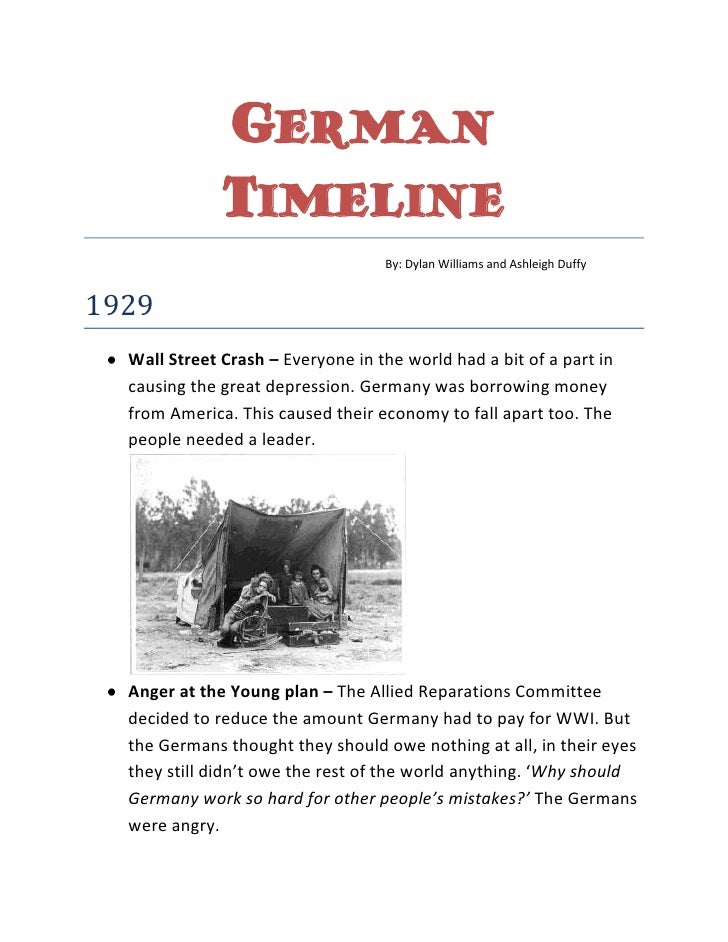 German Timeline<br />By: Dylan Williams and Ashleigh Duffy<br />1929<br /><ul><li>Wall Street Crash – Everyone in the worl...