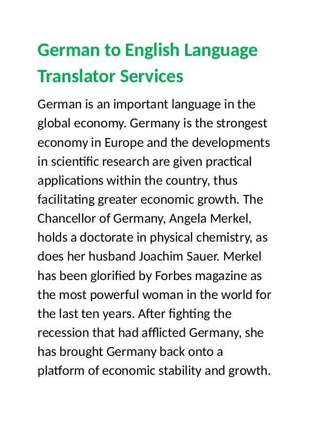 German to English Language Translator Services