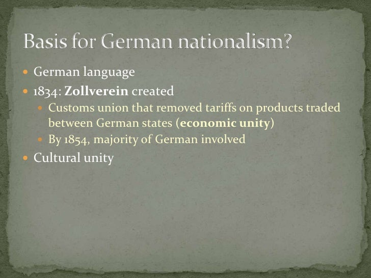 German language<br />1834: Zollverein created<br />Customs union that removed tariffs on products traded between German st...