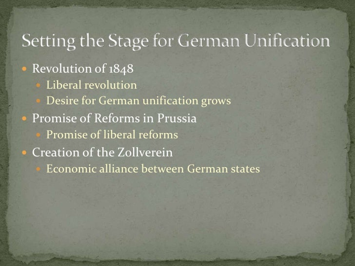 Revolution of 1848<br />Liberal revolution<br />Desire for German unification grows<br />Promise of Reforms in Prussia<br ...