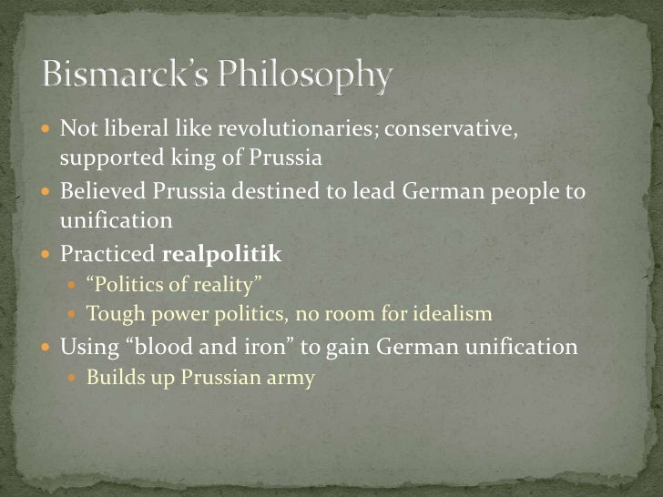 Not liberal like revolutionaries; conservative, supported king of Prussia<br />Believed Prussia destined to lead German pe...