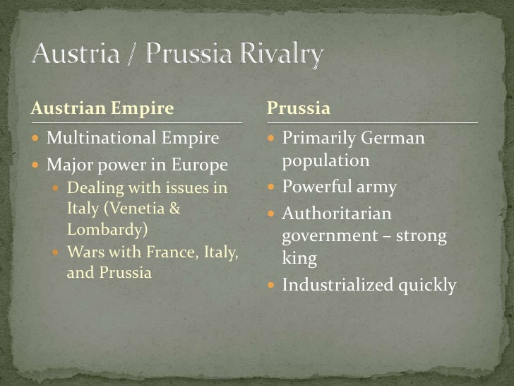 Austrian Empire<br />Multinational Empire<br />Major power in Europe <br />Dealing with issues in Italy (Venetia & Lombar...
