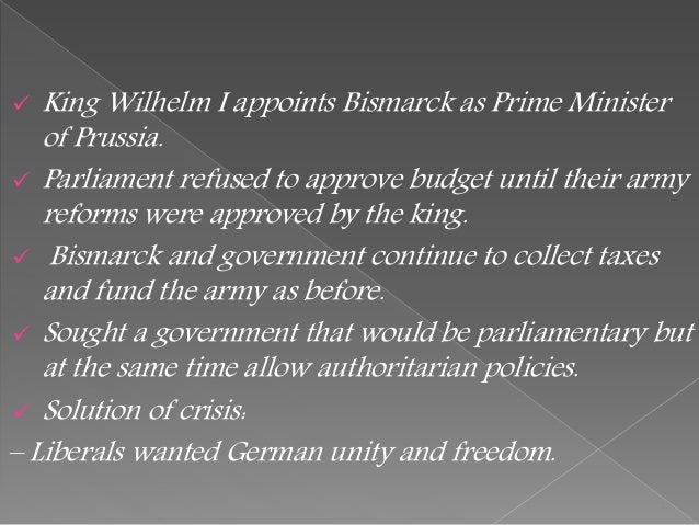 an analysis of the unification of germany that led to the authoritarian style government in germany Italian and german unification frq's- aaron rose 1 assess the extent to which the unification of germany under bismarck led to authoritarian government there between 1871 in the methods used by cavour and bismarck to bring about the unification of italy and germany.