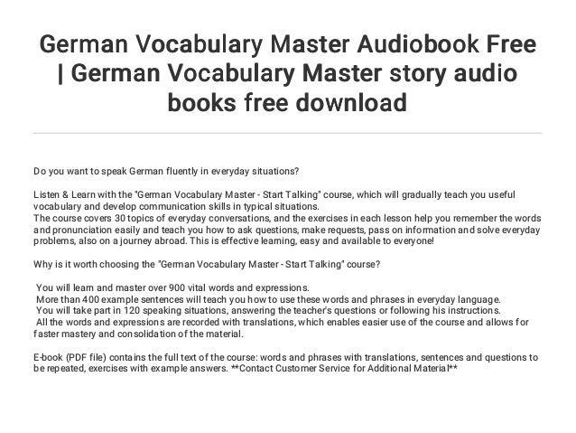 German Vocabulary Master Audiobook Free   German Vocabulary