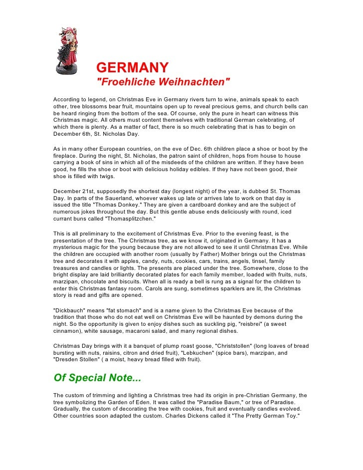 """GERMANY                 """"Froehliche Weihnachten""""According to legend, on Christmas Eve in Germany rivers turn to wine, anim..."""
