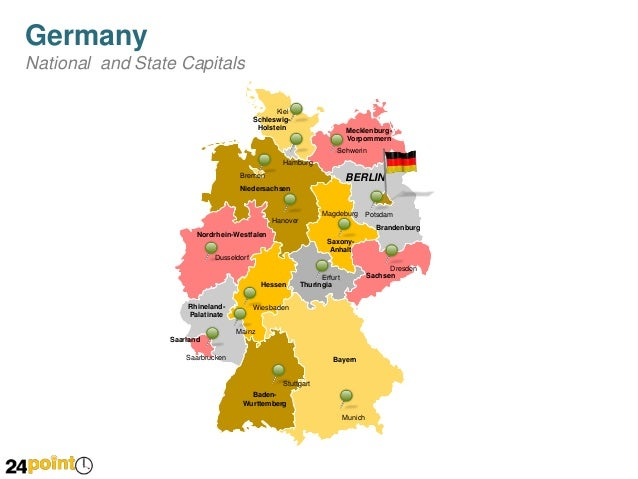 Editable PPT Map Of Germany - Germany map with major cities