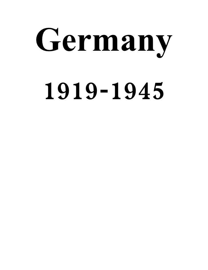 History Revision Notes [GERMANY]